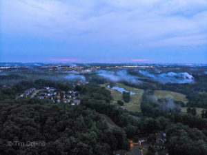 Drone image of fog over Lee's Hill